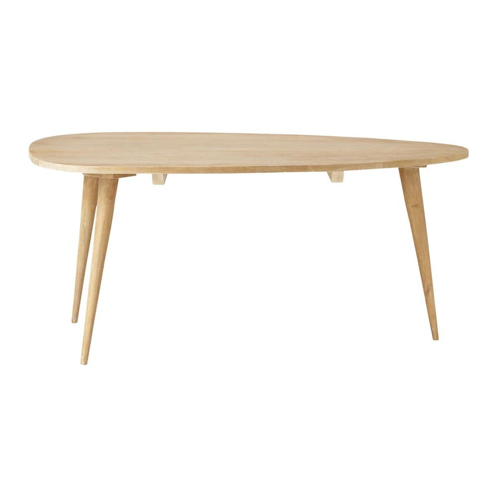 Solid mango wood vintage coffee table w 100cm trocadero for Table basse scandinave gigogne
