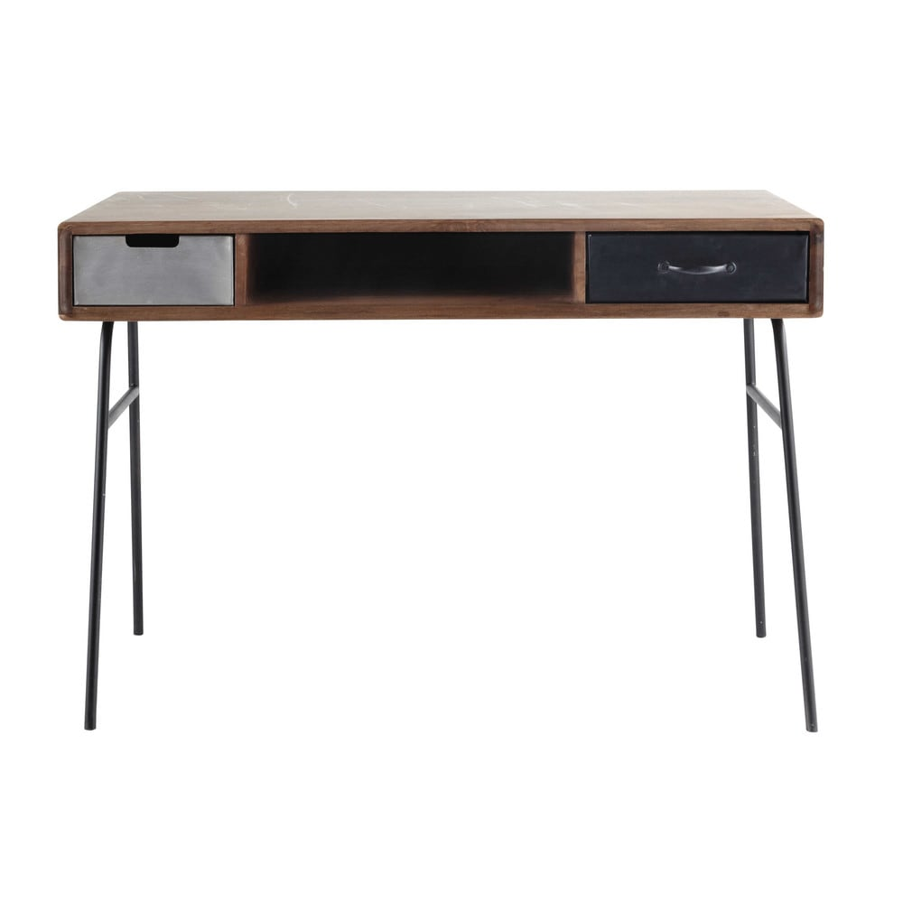Solid mango wood vintage desk w 115cm lenox maisons du monde - Unfinished wood desks ...