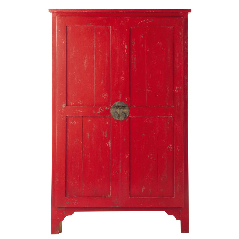 solid mango wood wardrobe in red w 115cm grenade maisons. Black Bedroom Furniture Sets. Home Design Ideas