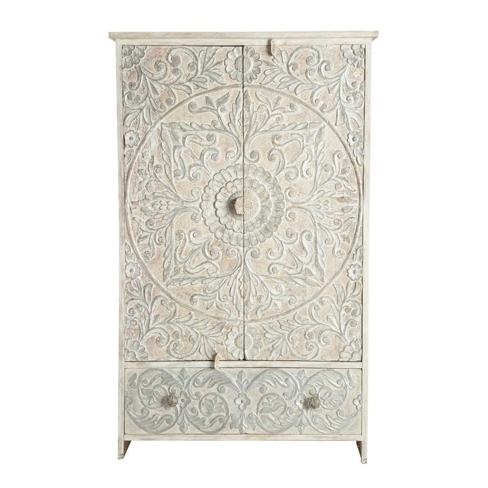 Solid mango wood wardrobe in white and silver w 110cm namaste maisons du monde - Maison du monde armoire ...