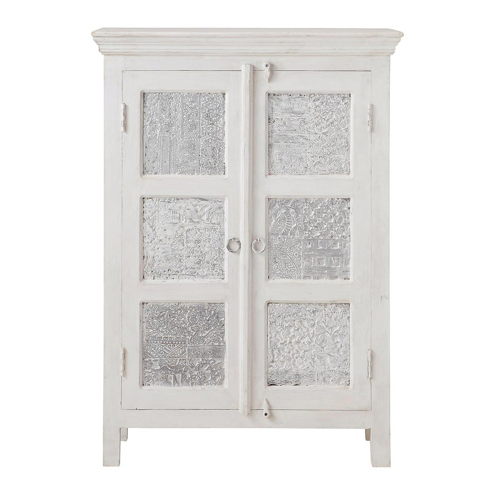 Solid mango wood wardrobe in white and silver w 84cm for Armoire newport maison du monde