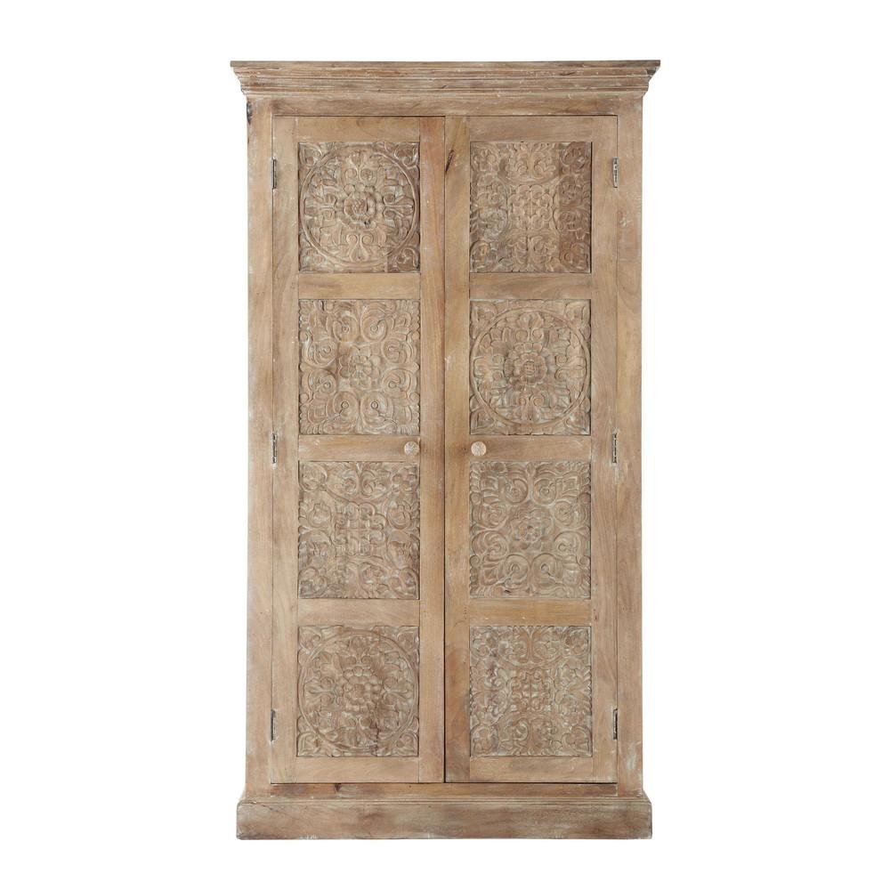 solid mango wood wardrobe w 100cm himalaya maisons du monde. Black Bedroom Furniture Sets. Home Design Ideas