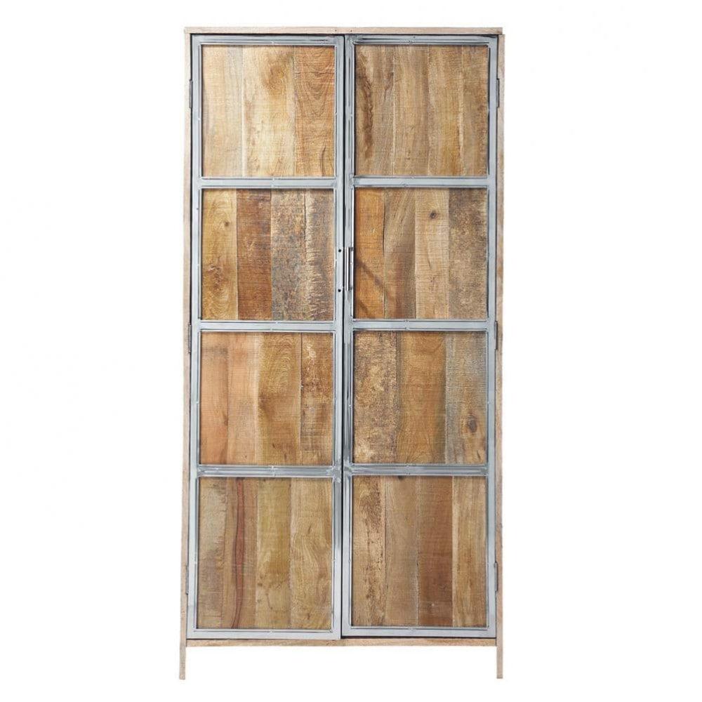 solid mango wood wardrobe w 90cm taiga maisons du monde. Black Bedroom Furniture Sets. Home Design Ideas