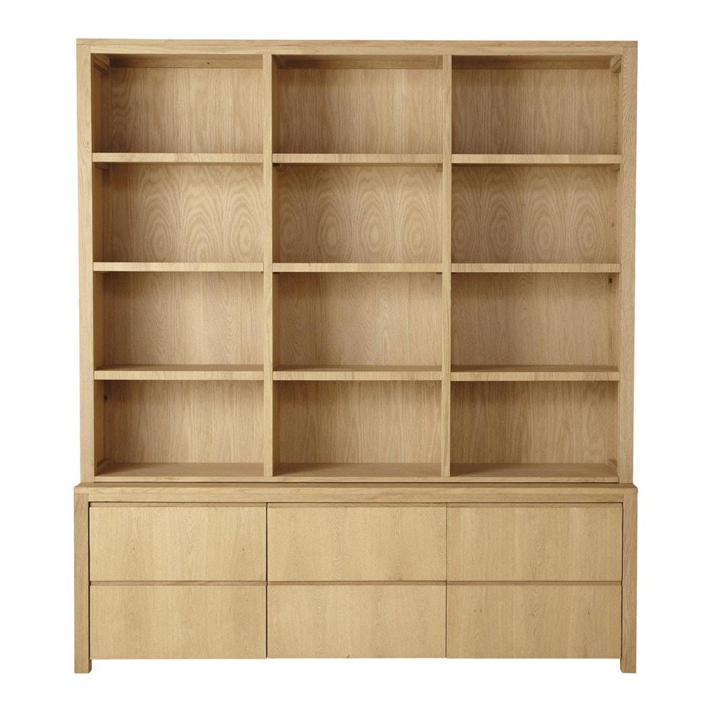 solid oak bookcase w 195cm danube maisons du monde. Black Bedroom Furniture Sets. Home Design Ideas