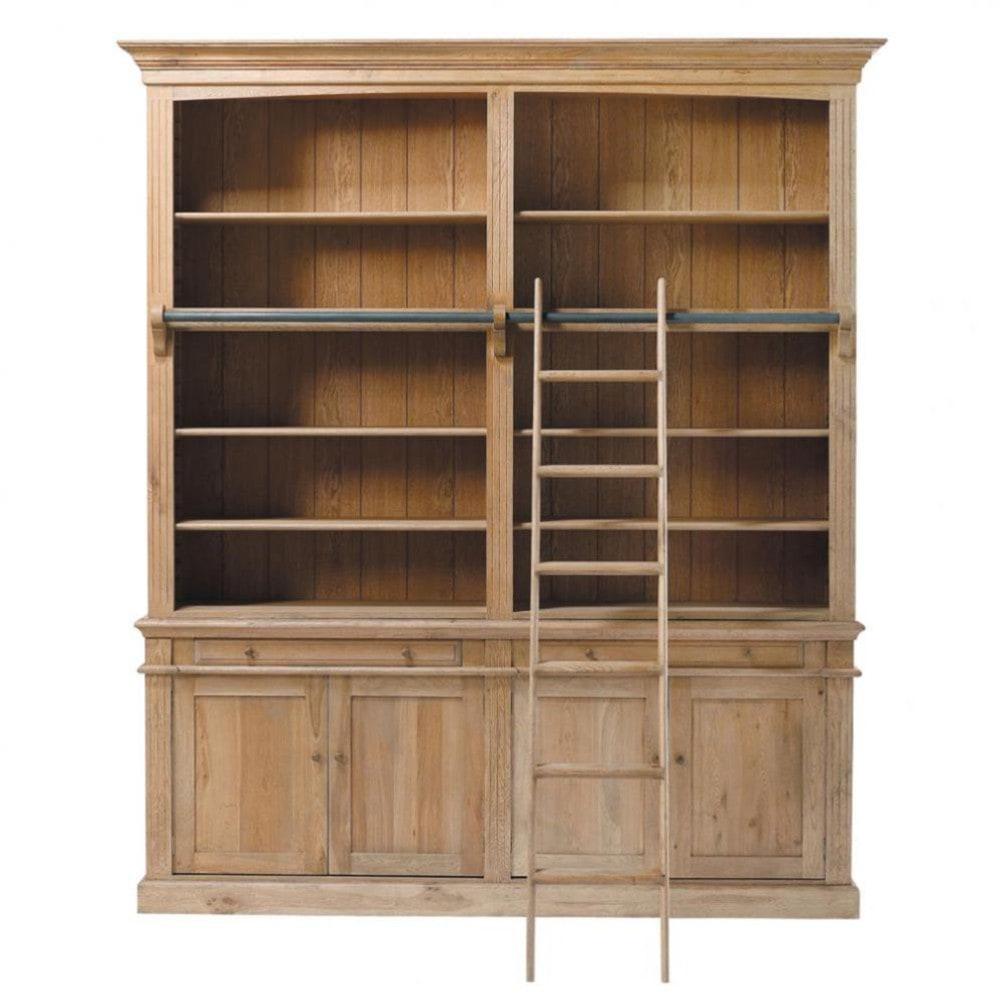 Solid Oak Bookcase W 200cm Atelier Maisons Du Monde