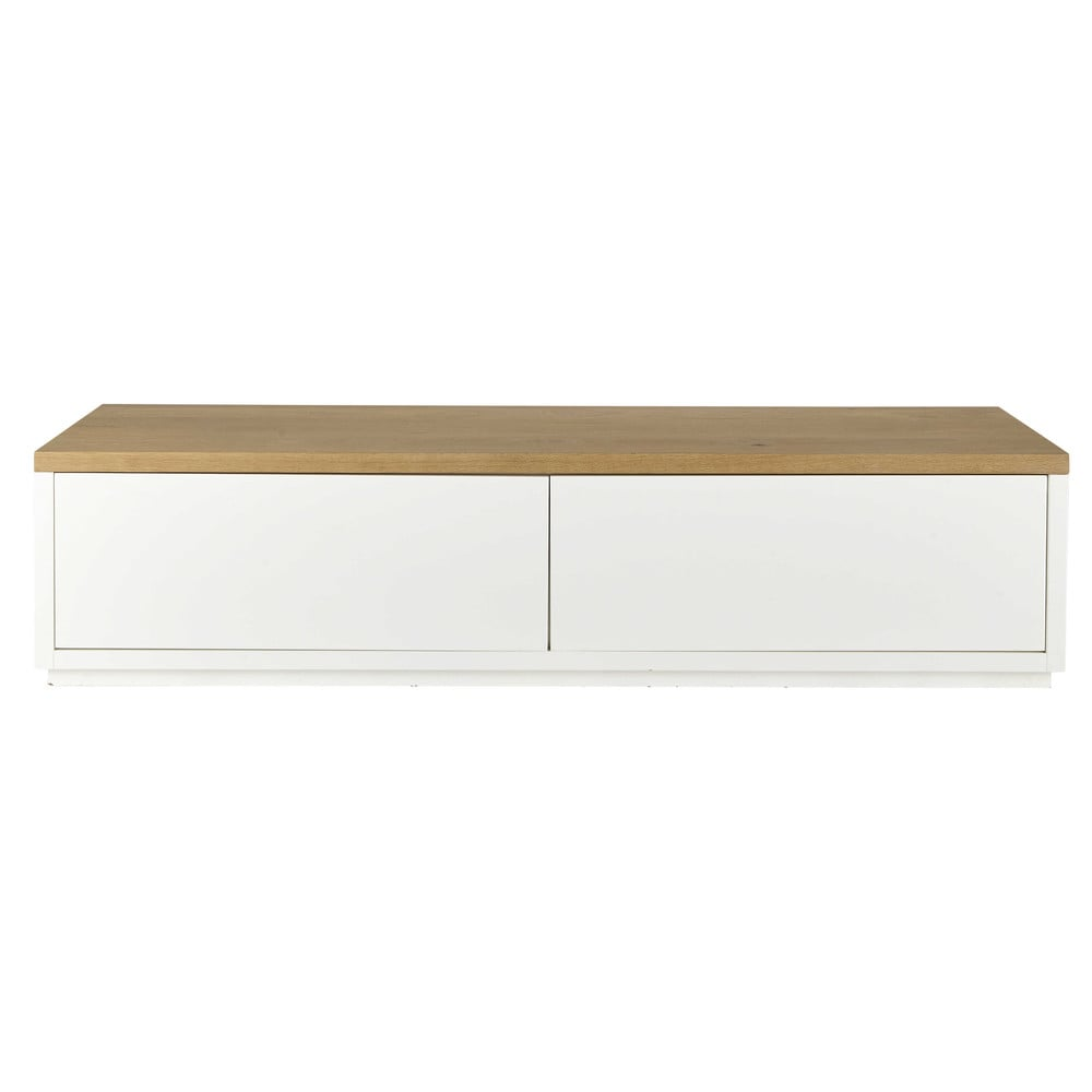 Solid oak tv unit in white w 180cm austral maisons du monde for Maison du meuble