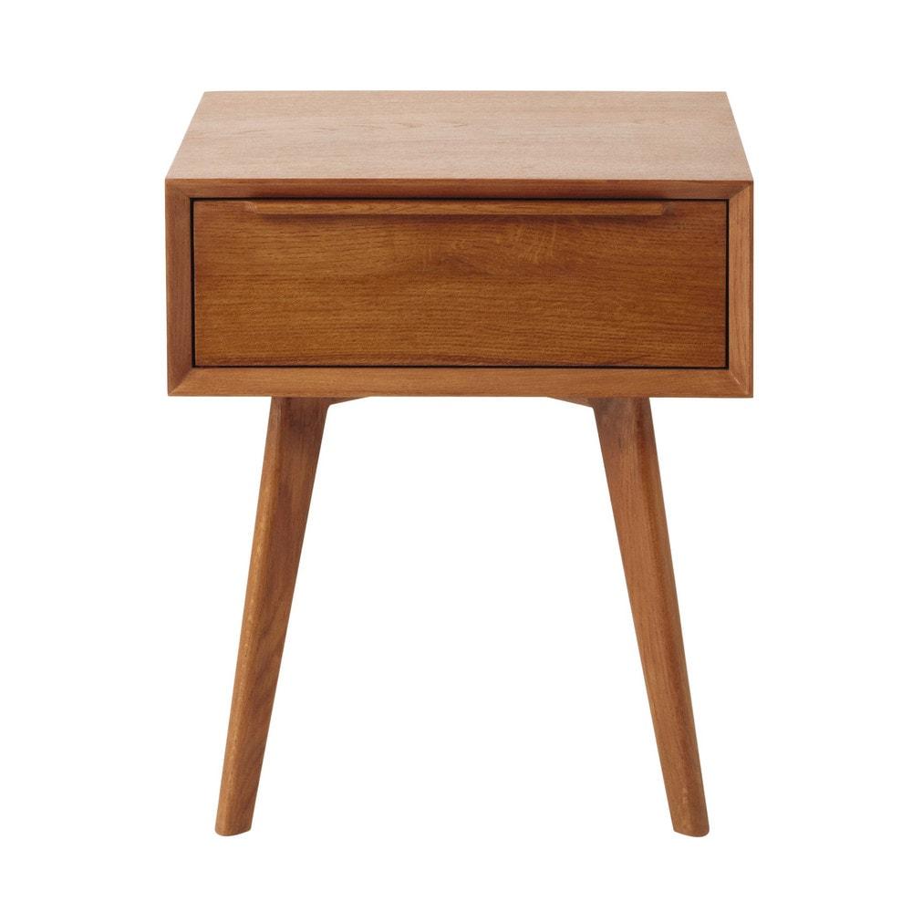 Solid oak vintage bedside table with drawer w 45cm portobello maisons du monde - Table chevet vintage ...