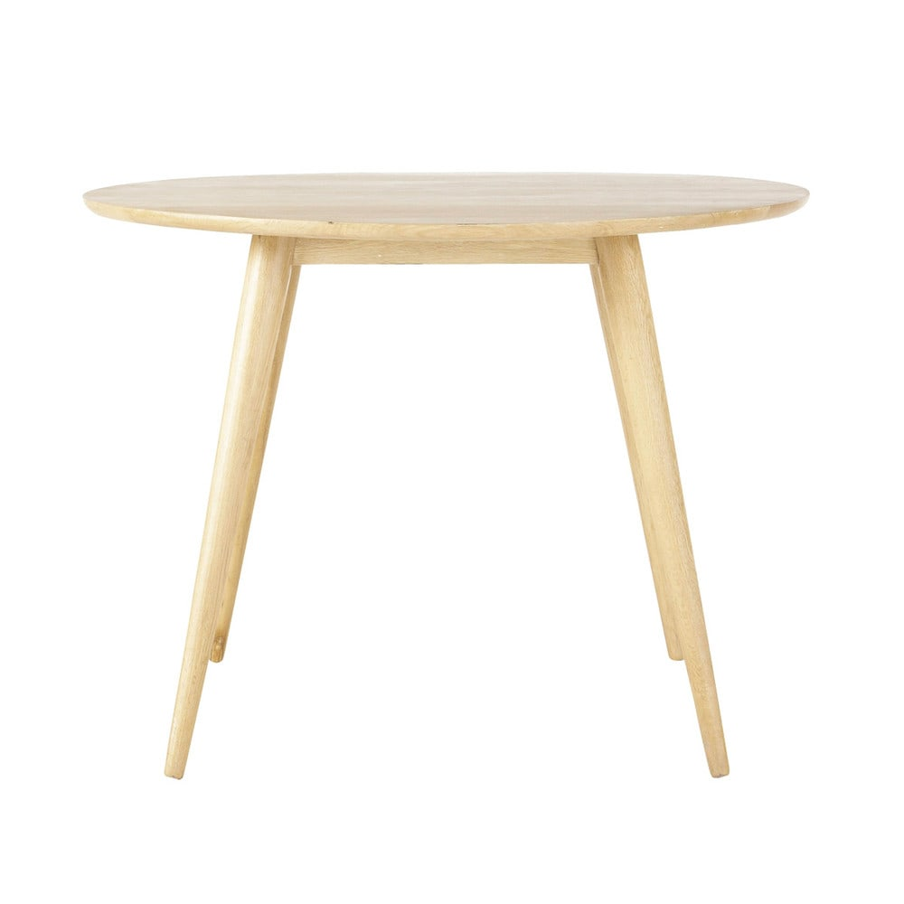 solid oak vintage round dining table d 100cm norway maisons du monde. Black Bedroom Furniture Sets. Home Design Ideas