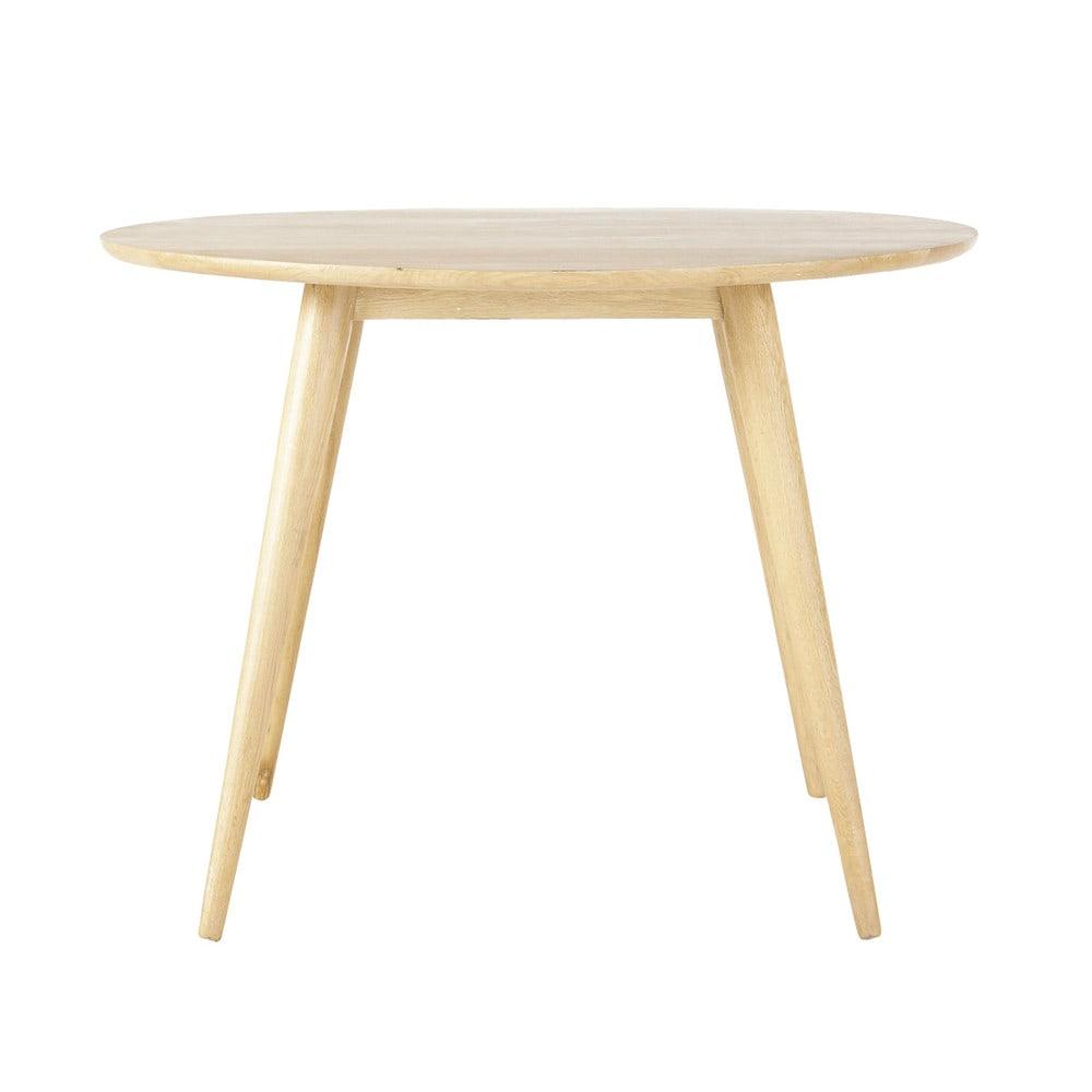 Solid oak vintage round dining table d 100cm norway - Table maison de famille ...