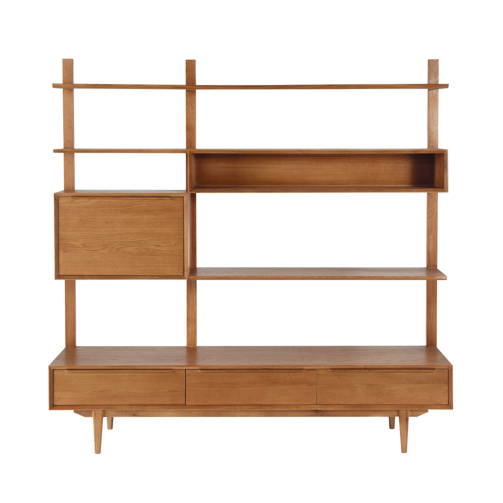 Solid oak vintage tv shelf unit portobello maisons du monde for Maison de monde uk