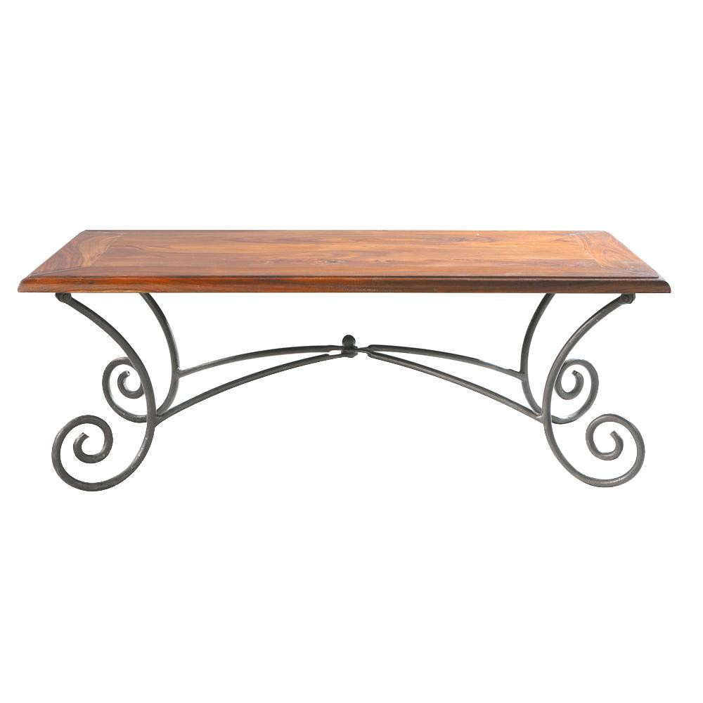 solid sheesham wood and wrought iron coffee table w 120cm