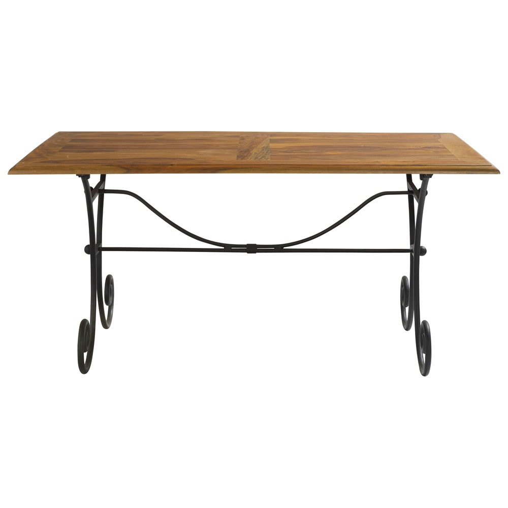Solid Sheesham Wood And Wrought Iron Dining Table W 160cm Lub Ron Maisons Du Monde