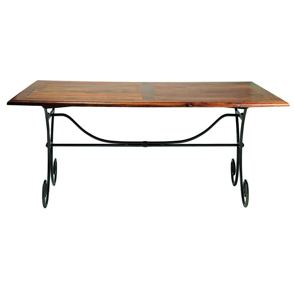 Solid sheesham wood and wrought iron dining table w 180cm for Table 180 cm