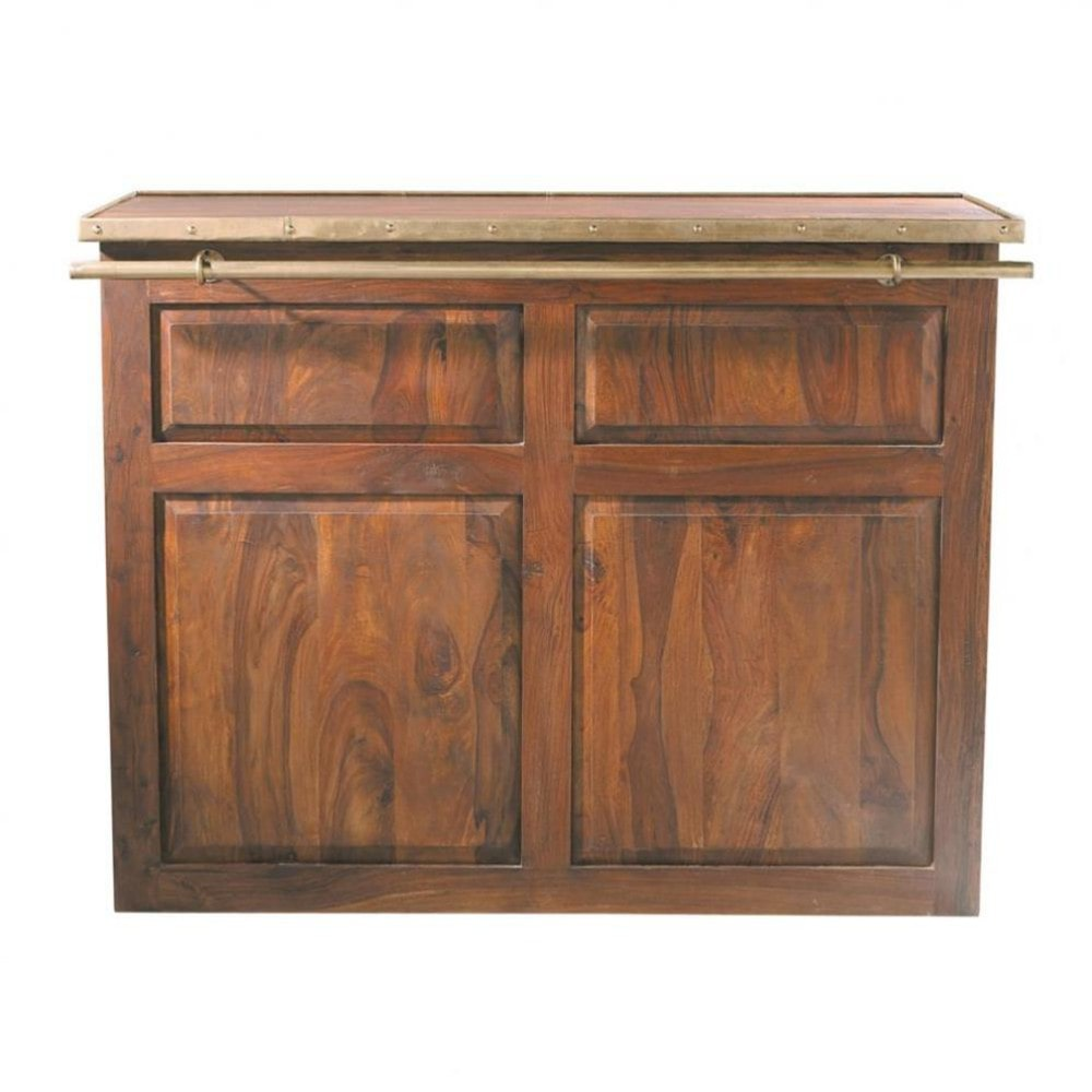 solid sheesham wood bar unit w 132cm lub ron maisons du monde. Black Bedroom Furniture Sets. Home Design Ideas