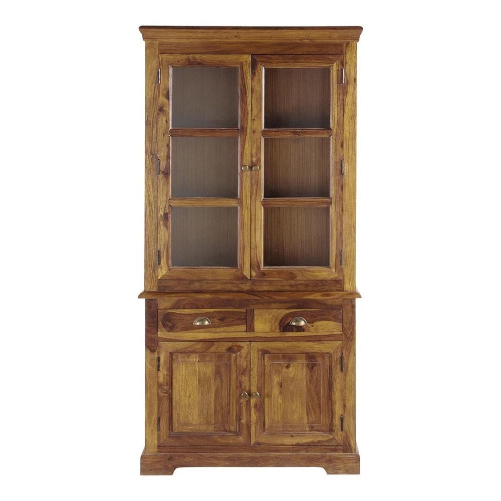 solid sheesham wood china cabinet w 100cm lub ron maisons du monde. Black Bedroom Furniture Sets. Home Design Ideas