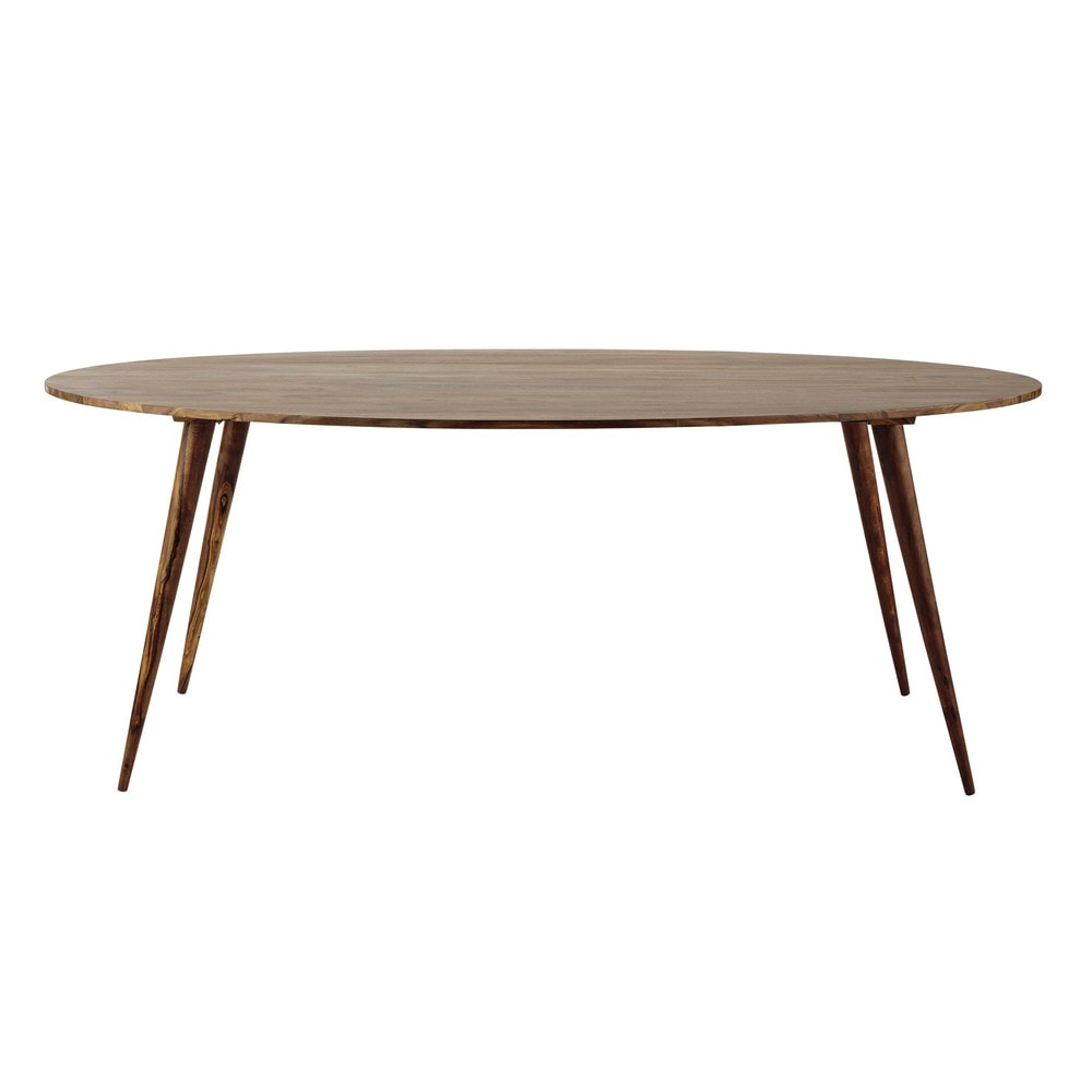 Solid sheesham wood oval dining table w 200cm andersen for Tables basses maison du monde