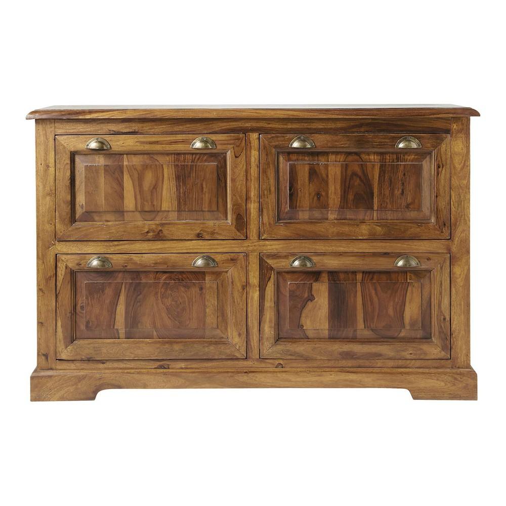 Solid Sheesham Wood Shoe Cabinet W 140cm Lub Ron Maisons Du Monde