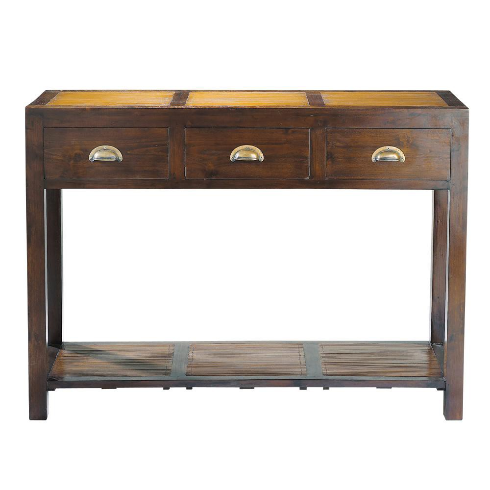 solid teak and bamboo console table w 110cm bamboo. Black Bedroom Furniture Sets. Home Design Ideas