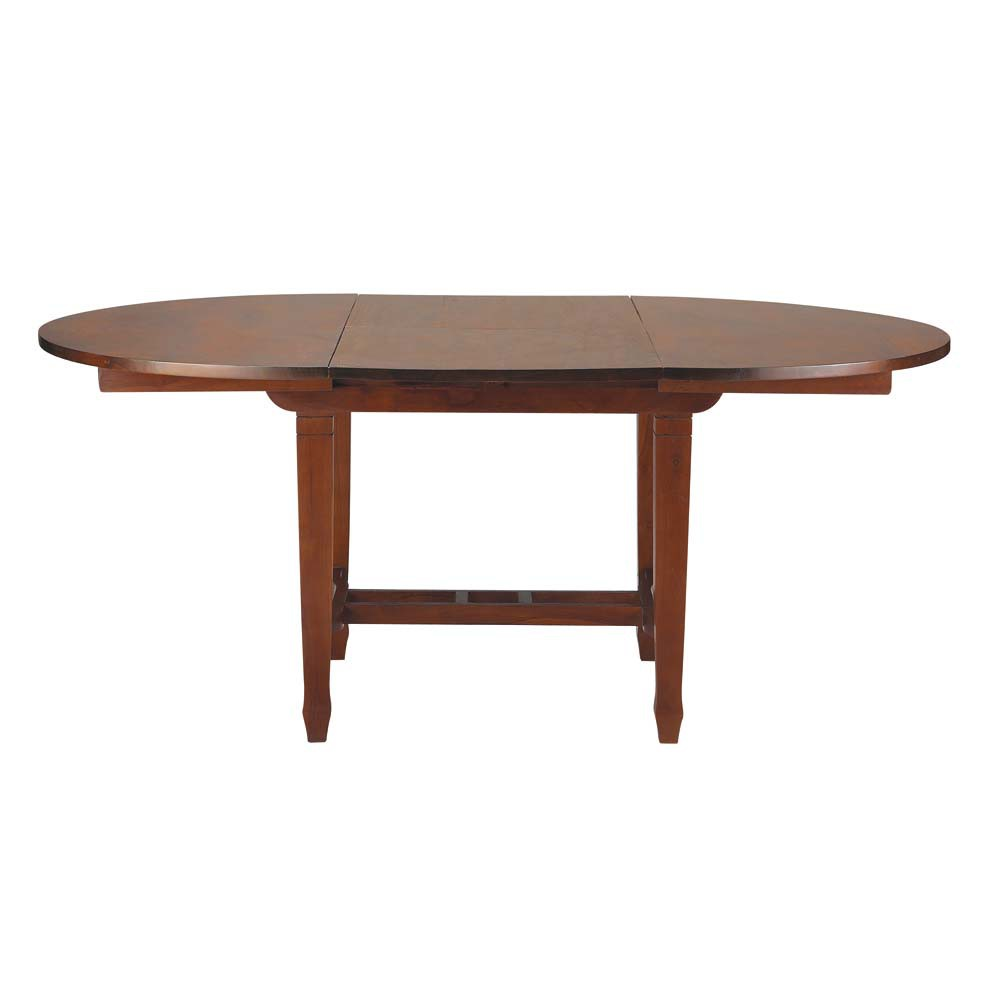 Solid teak extending dining table in stain finish w 120cm for Dining table finish