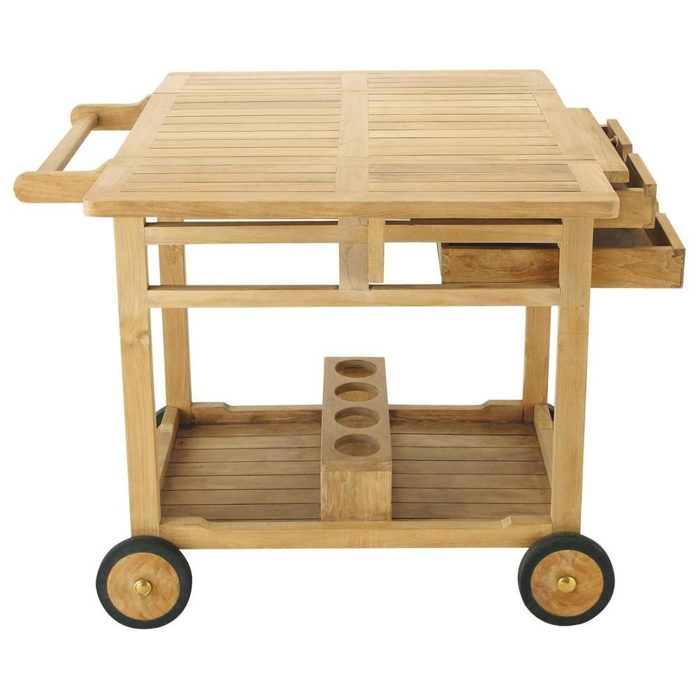 solid teak garden sideboard trolley 56 x 94cm la rochelle