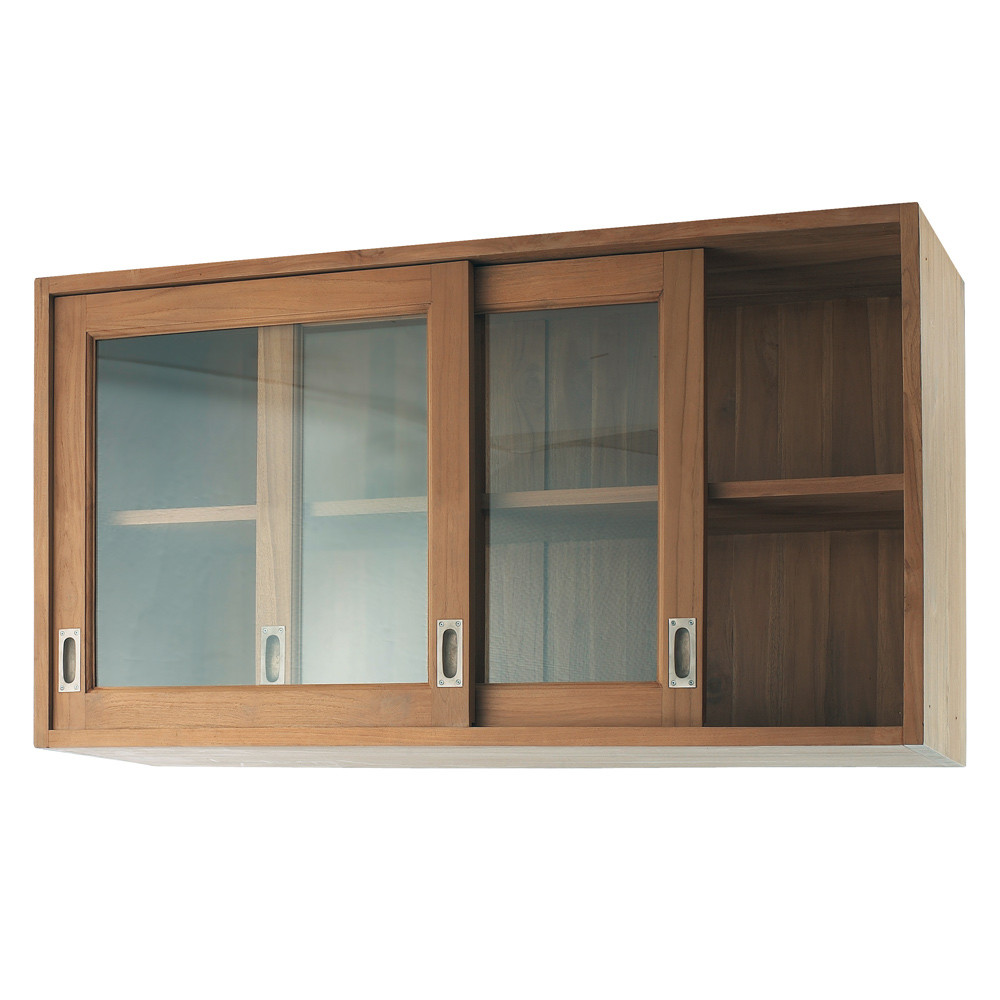 Solid teak kitchen wall unit w 120cm amsterdam maisons for Kitchen units on one wall