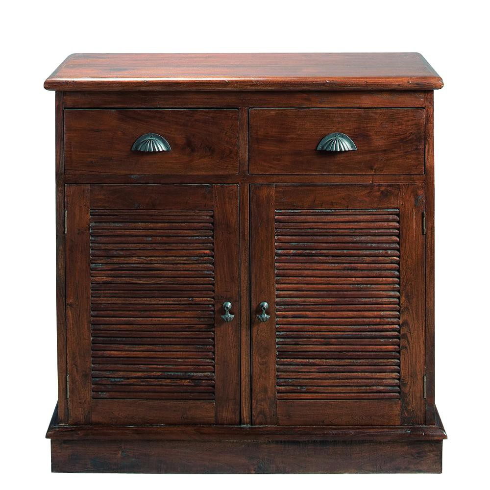 solid teak sideboard w 90cm colonial maisons du monde. Black Bedroom Furniture Sets. Home Design Ideas