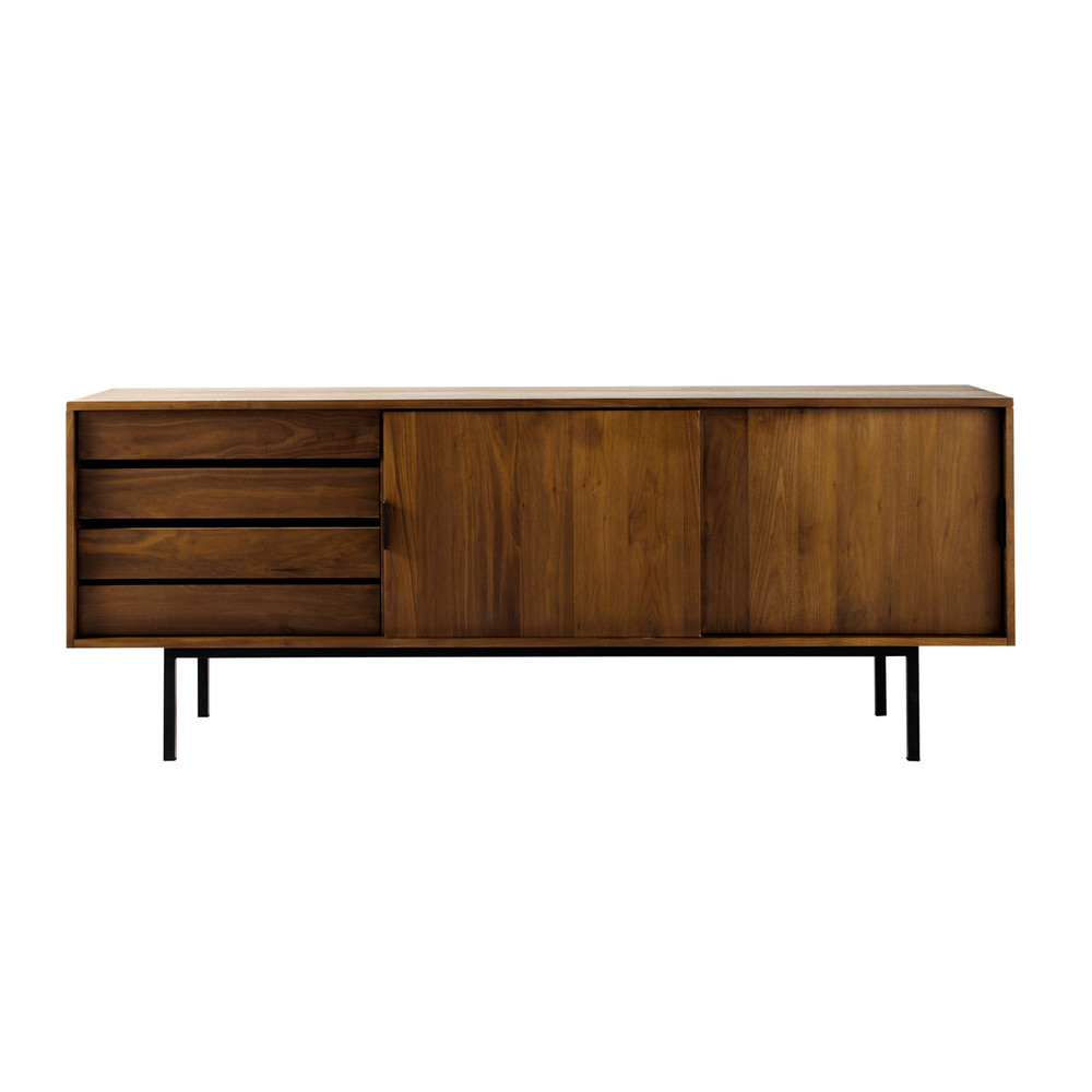 Solid Walnut Sideboard W 200cm Berkley Maisons Du Monde