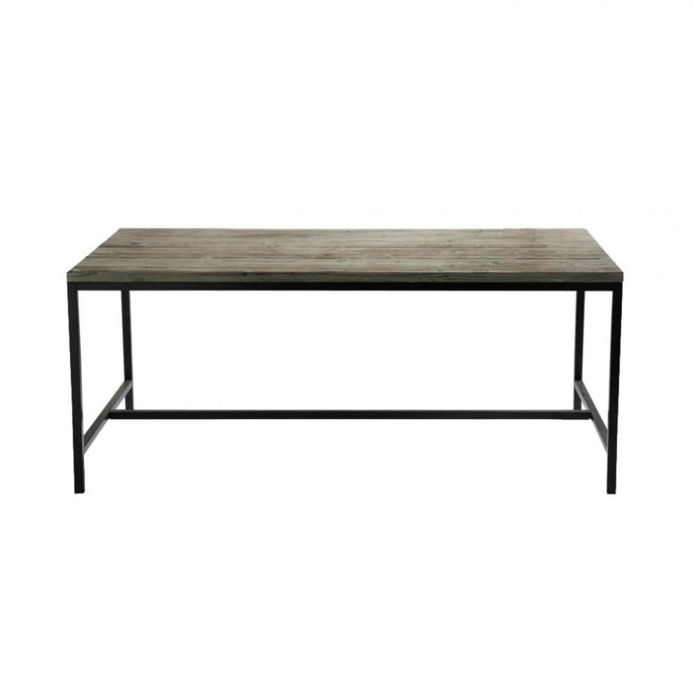 Solid wood and metal industrial dining table w 178cm long for Maison du monde table
