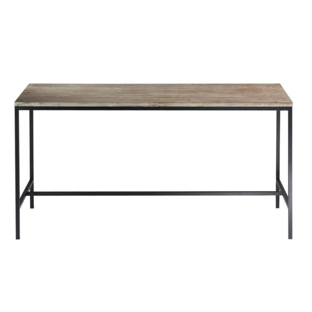 Solid wood and metal industrial dining table w 210cm long for Metal dining table