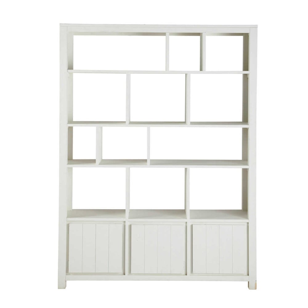 solid wood bookcase in white w 150cm white maisons du monde. Black Bedroom Furniture Sets. Home Design Ideas