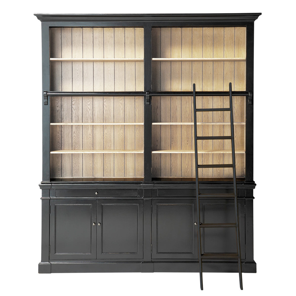 solid wood bookcase with ladder in black w 201cm versailles maisons du monde. Black Bedroom Furniture Sets. Home Design Ideas