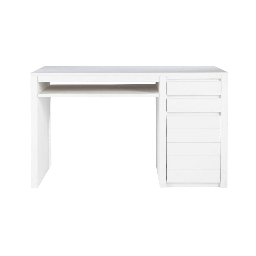 solid wood desk in white w 130cm white maisons du monde. Black Bedroom Furniture Sets. Home Design Ideas