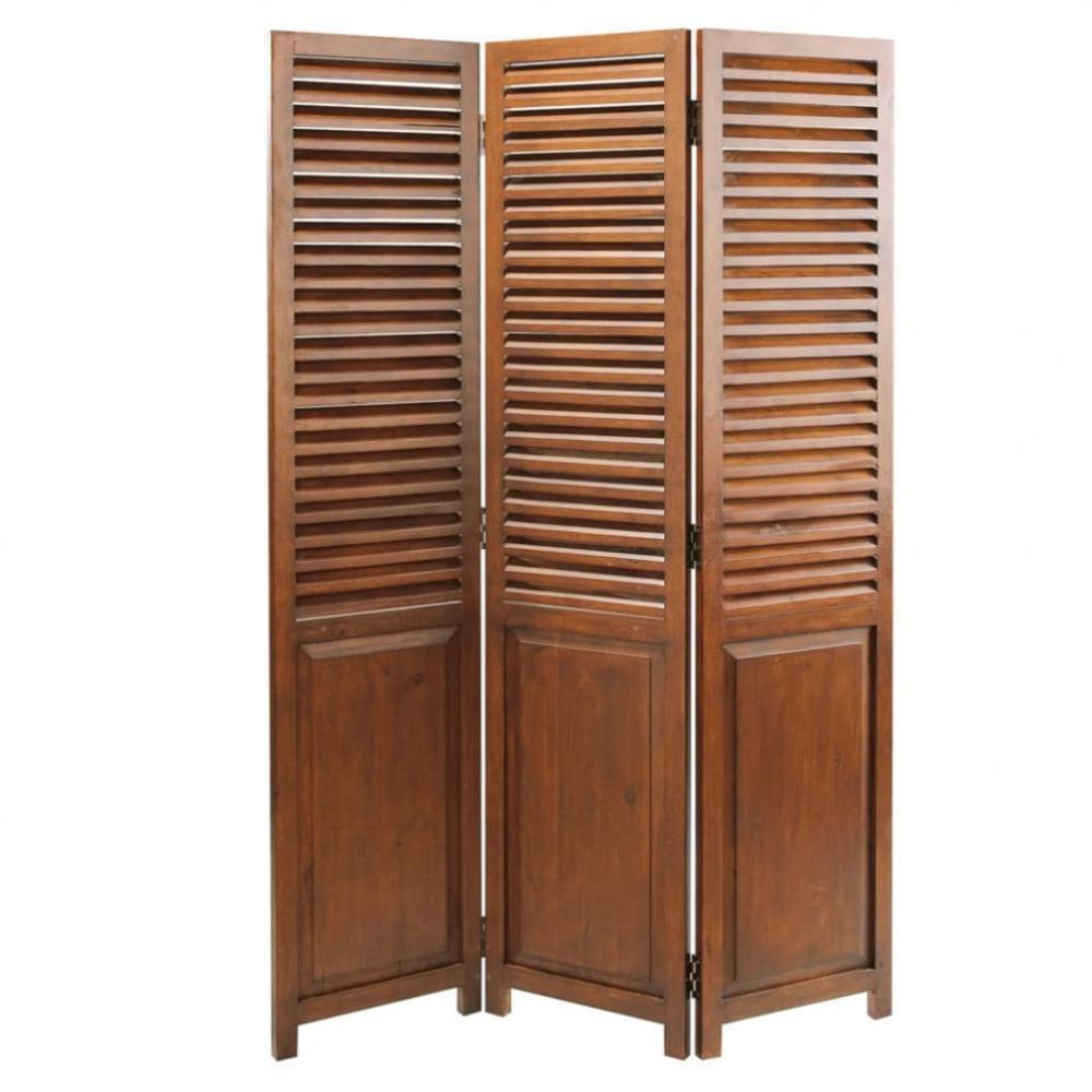 solid wood folding screen w 120cm colonial maisons du monde. Black Bedroom Furniture Sets. Home Design Ideas
