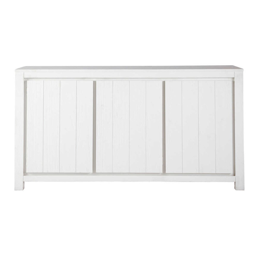 solid wood sideboard in white w 160cm white maisons du monde. Black Bedroom Furniture Sets. Home Design Ideas
