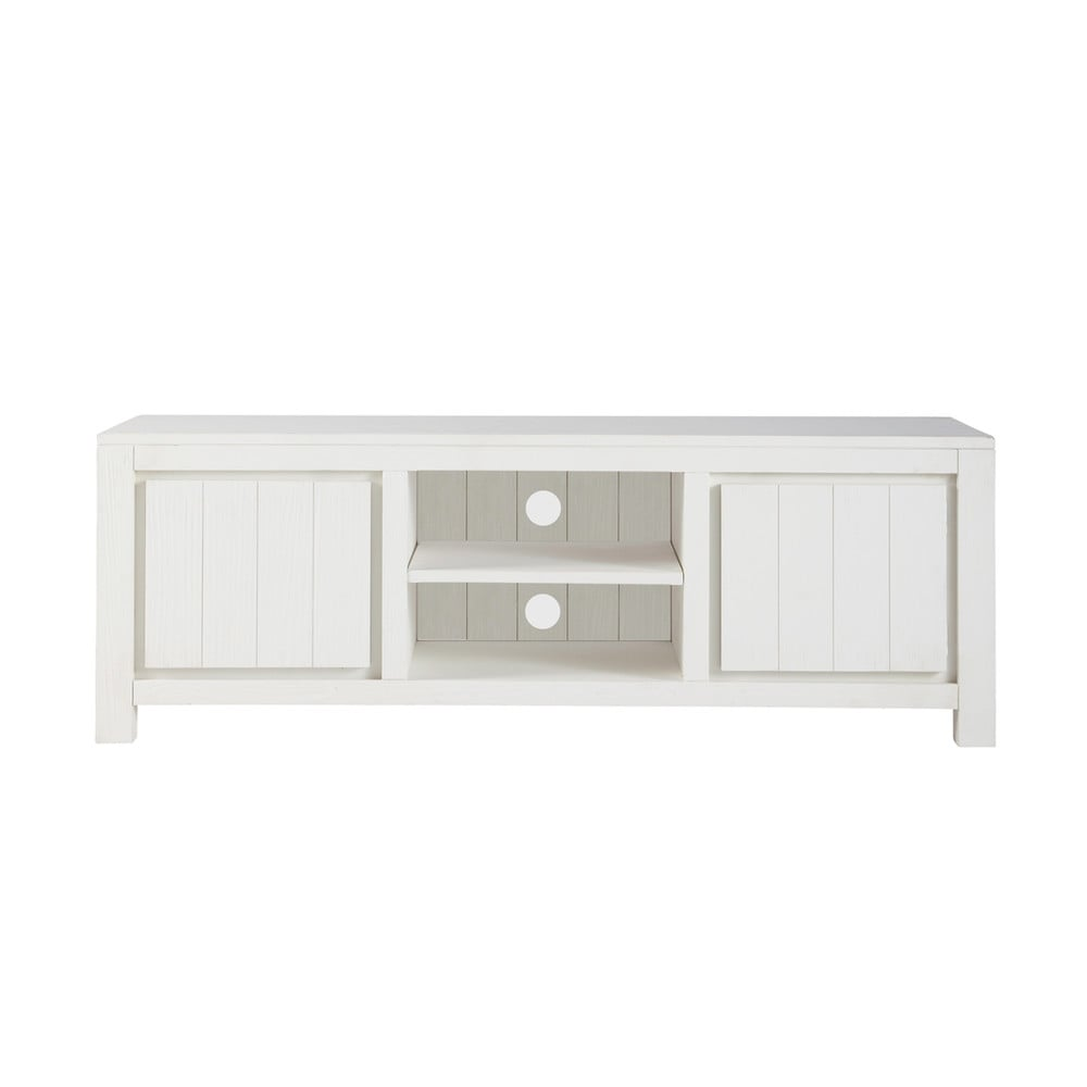 solid wood tv unit in white w 145cm white maisons du monde. Black Bedroom Furniture Sets. Home Design Ideas