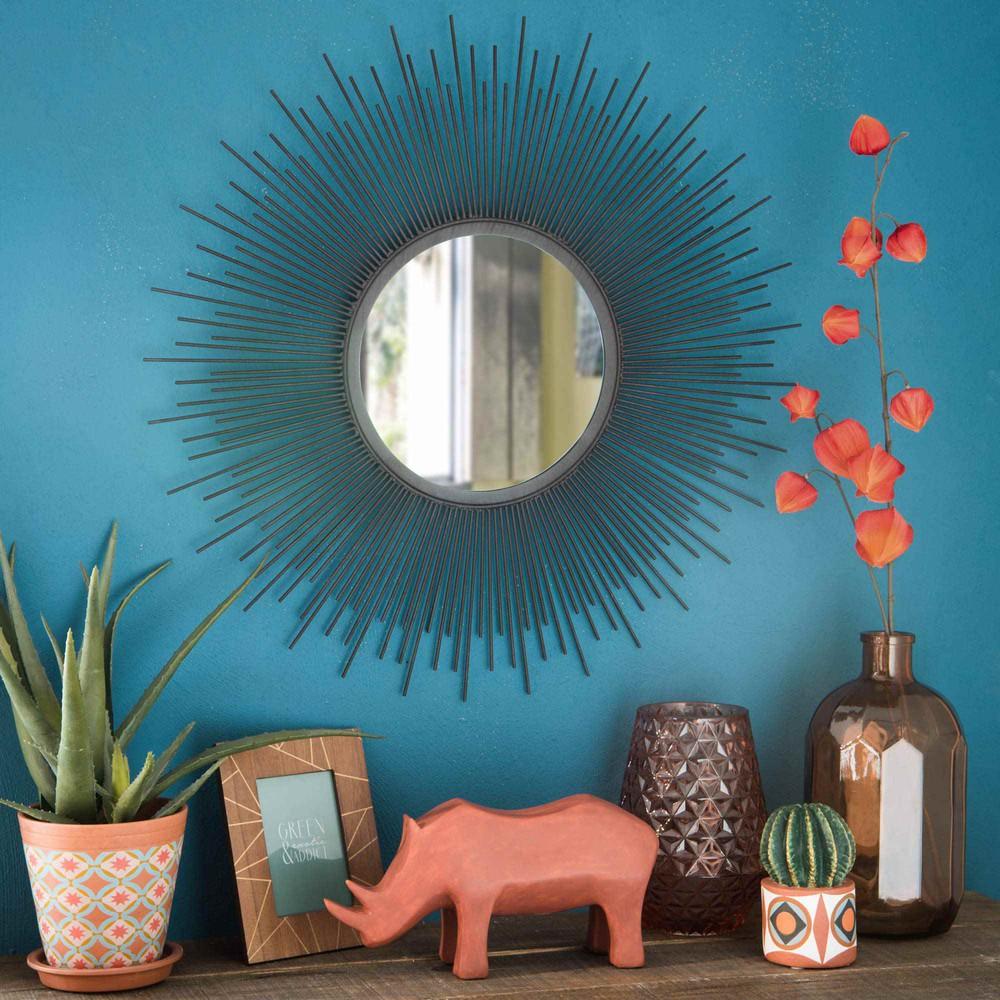 Specchio a forma di sole in metallo scuro joya maisons du monde - Specchio a forma di sole ...
