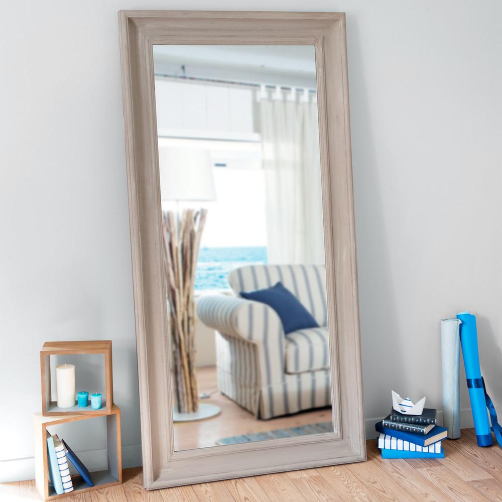 Specchio beige in legno h 180 cm sully antique maisons - Specchio invecchiato ...