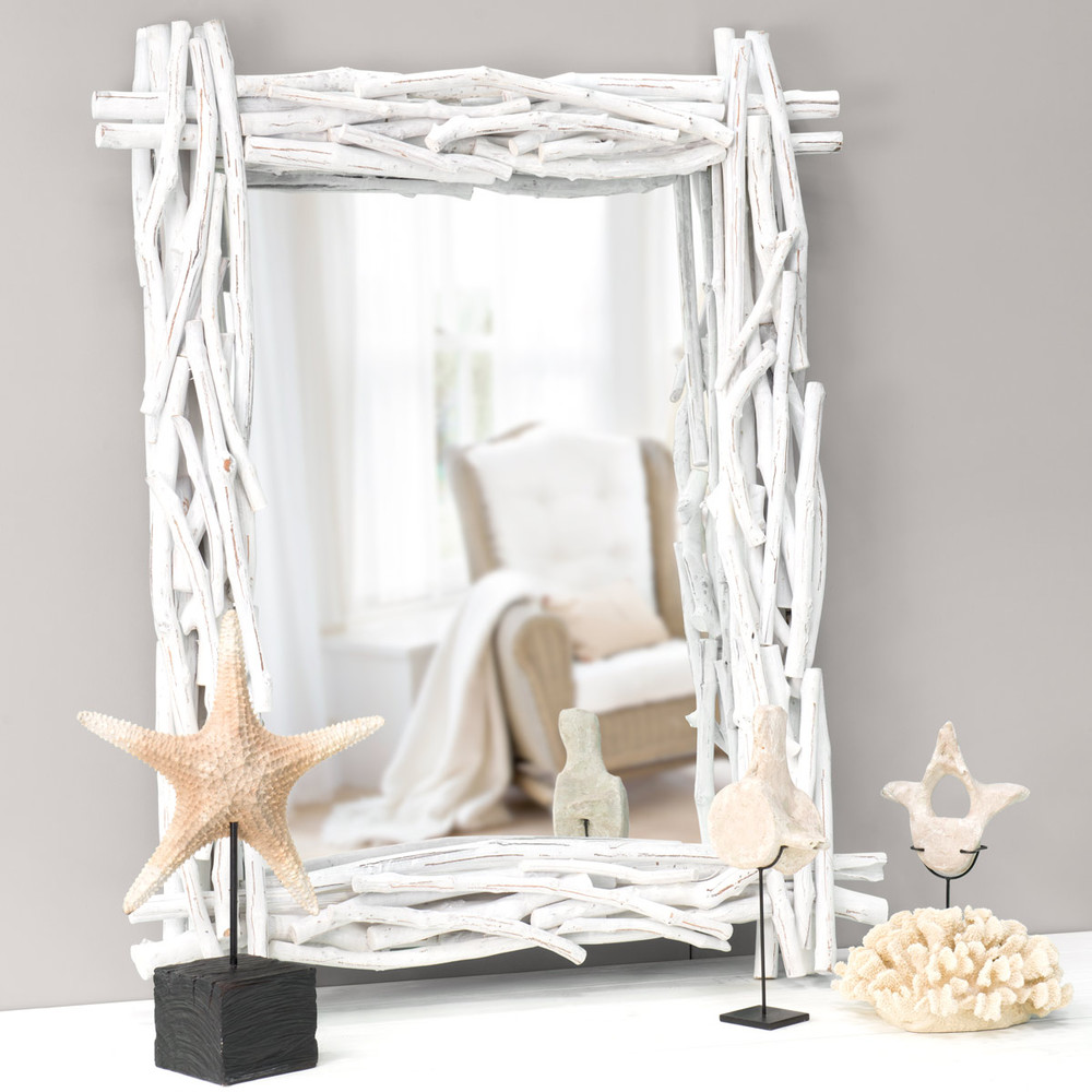 Specchio bianco in legno fluitato h 115 cm fjord maisons - Specchio in legno ...