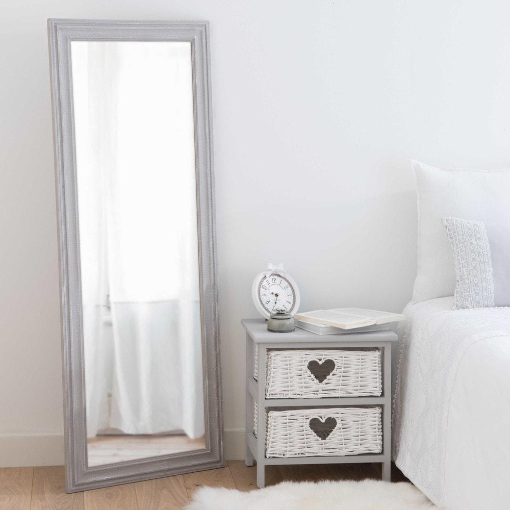 Specchio grigio in paulonia effetto anticato 50x130cm lyna - Specchio anticato ...