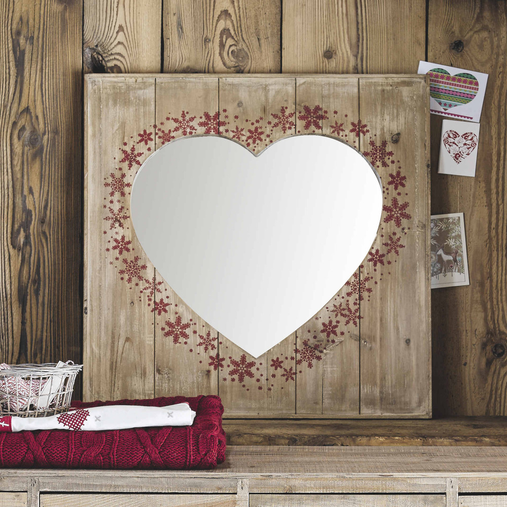 Specchio in legno a forma di cuore h 80 cm moutain maisons du monde - Specchio a cuore ...