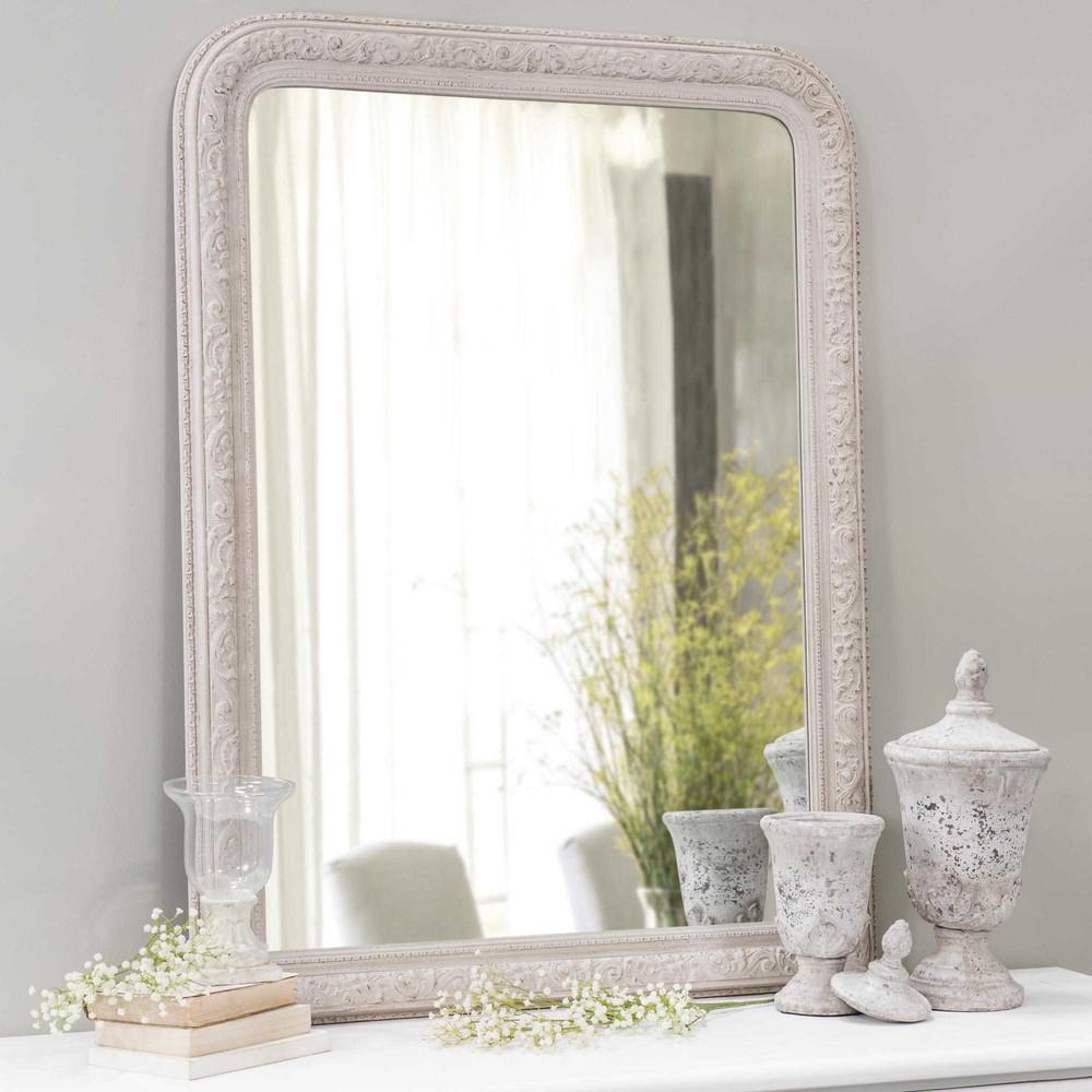 Specchio in legno beige h 121 cm aglae maisons du monde - Specchio invecchiato ...