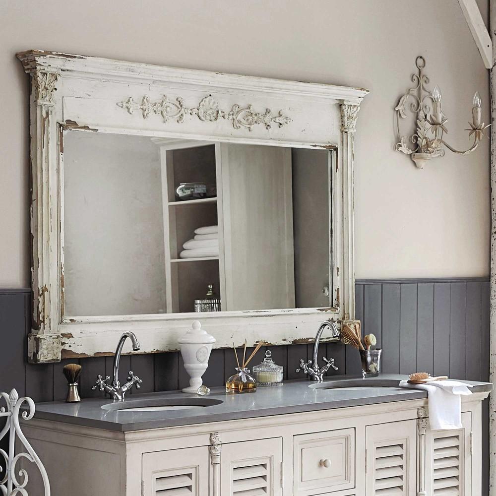 specchio in legno bianco h 97 cm albane