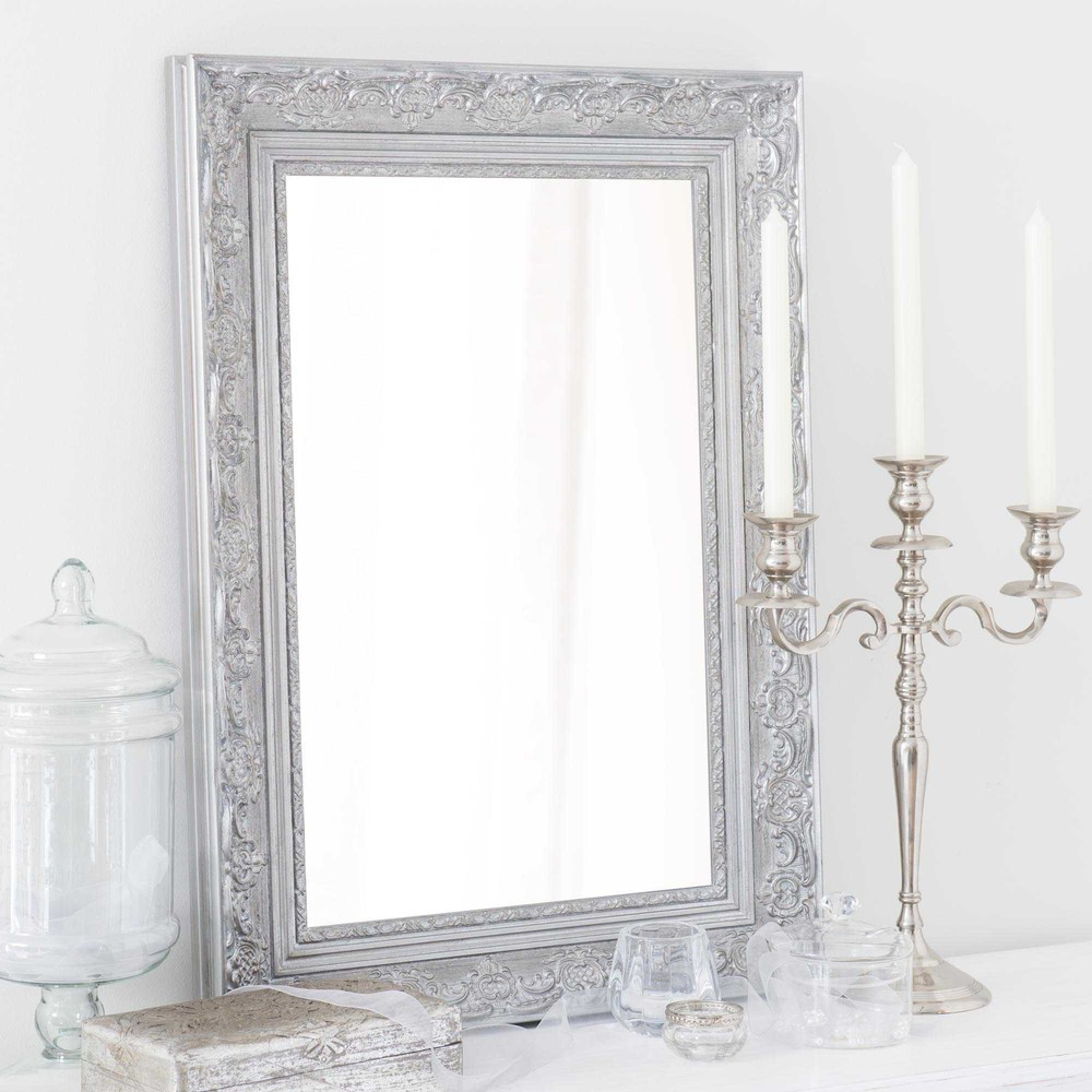 specchio in legno di paulonia argentato h 70 cm valentine maisons du monde. Black Bedroom Furniture Sets. Home Design Ideas