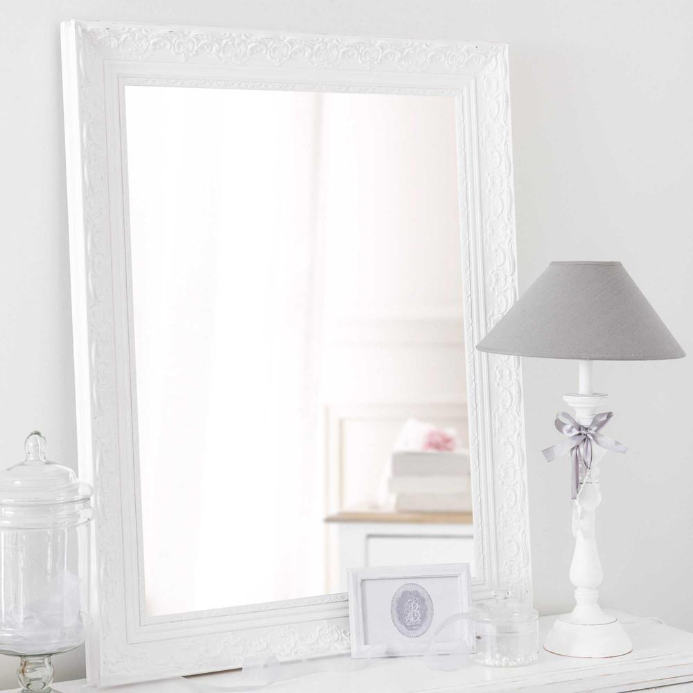 Specchio in legno di paulonia bianco h 90 cm valentine maisons du monde - Specchio shabby maison du monde ...