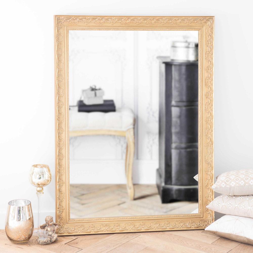 Specchio in legno di paulonia dorato h 120 cm valentine for Specchio da parete maison du monde