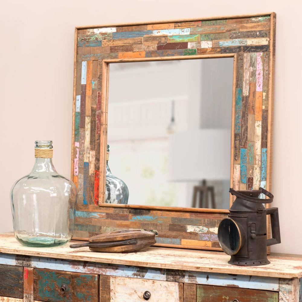 Specchio in legno h 90 cm boh me maisons du monde - Specchio stile industriale ...