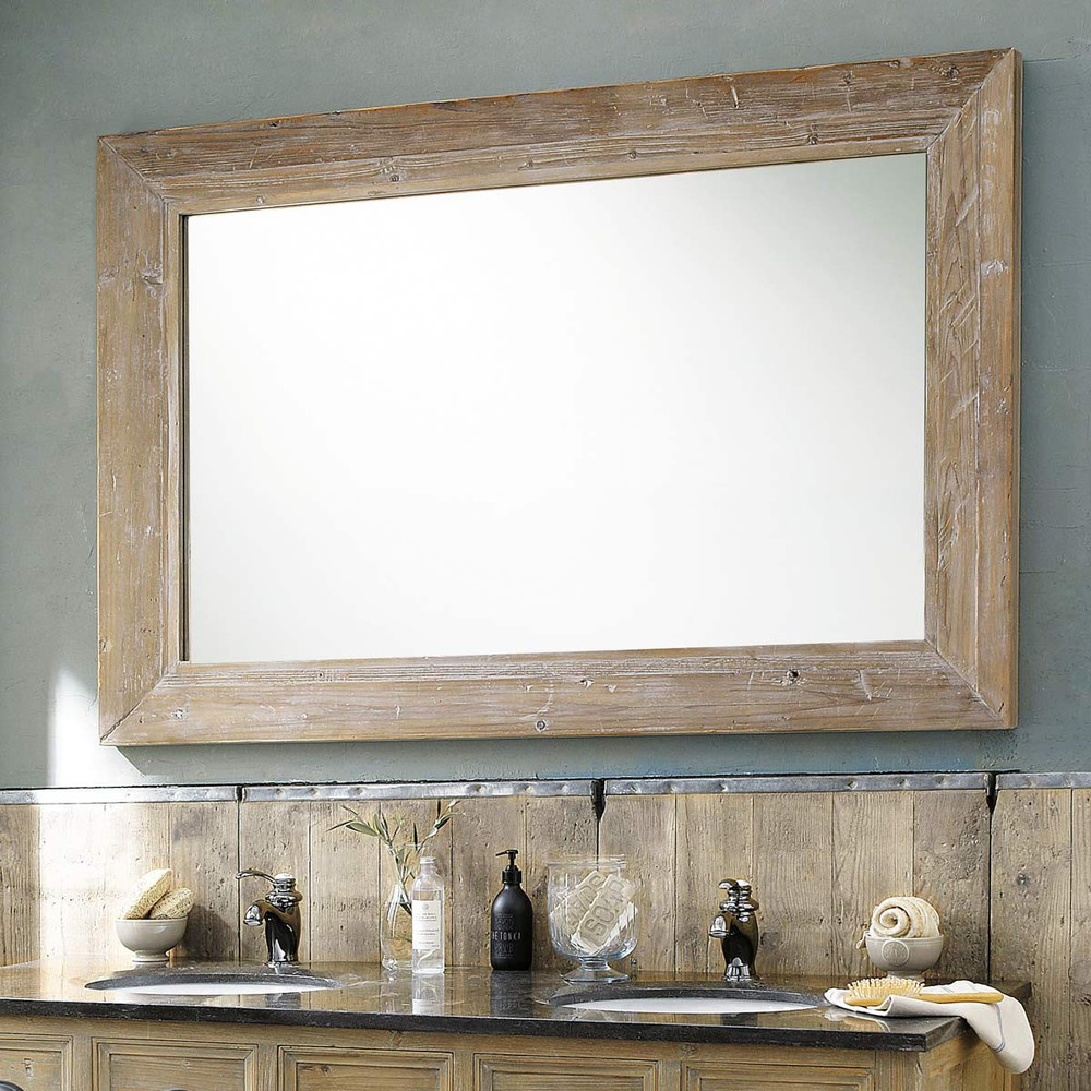 Specchio in legno sbiancato h 200 cm cancale maisons du for Glace de salle de bain design