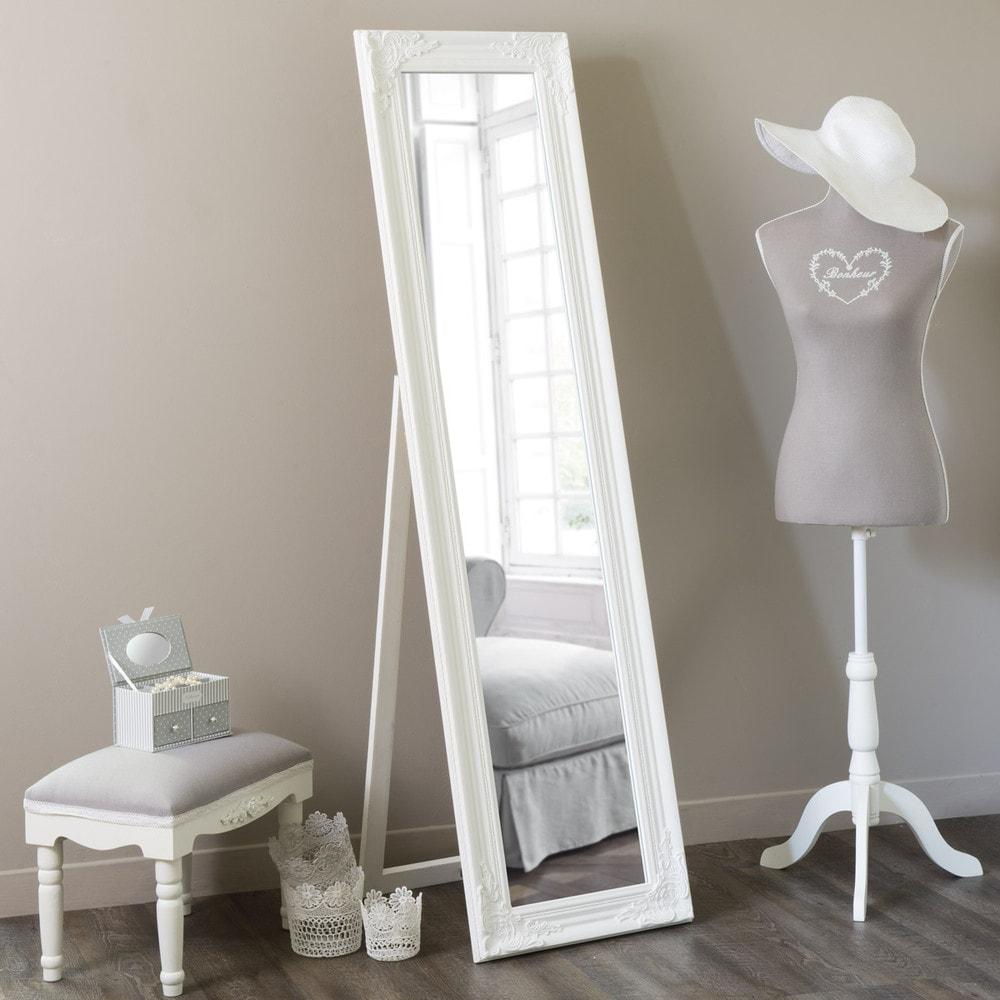 Specchio inclinabile bianco h 164 cm enzo maisons du monde for Specchio da terra inclinabile