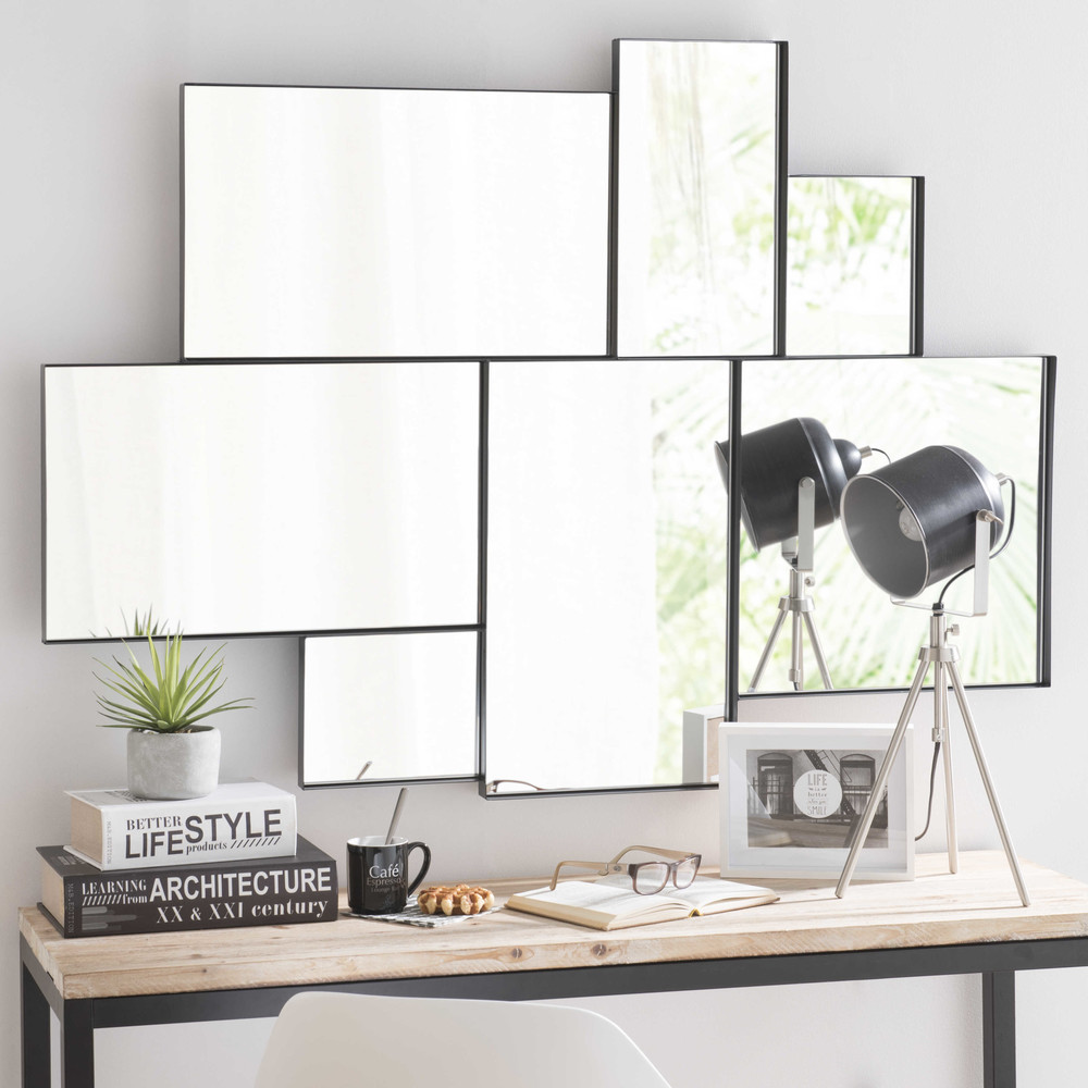 Specchio nero in metallo h 123 cm brooklyn maisons du monde for Miroir klara