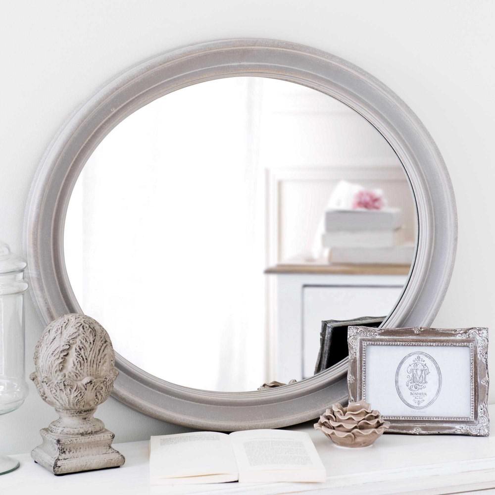 Specchio ovale in legno grigio h 70 cm emeline maisons - Specchio ovale vintage ...